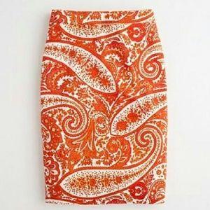 J. Crew Orange Paisley Cotton Pencil Skirt